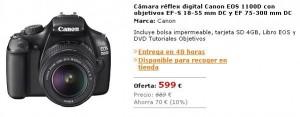 Oferta El Corte Ingles pack Canon 1100D